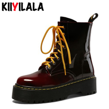 Kiiyilala Genuine Leather Zip Platform Boots Women Shoes Patent leather Round Toe Cross-tied Ankle Boots Woman Chunky Heel Shoes