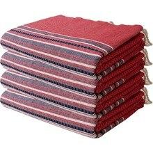 Wellstil 100 Cotton 4 PCs Peştamal Beach Towel Set Helen Red