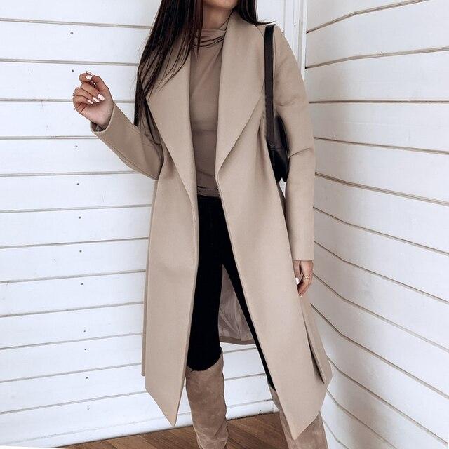 سترات نسائية صوف سادة للخريف والشتاء ملابس خروج واسعة وأكمام طويلة معطف صوفي للسيدات ملابس خارجية سميكة ضيقة غير رسمية مقاس كبير 3XL
