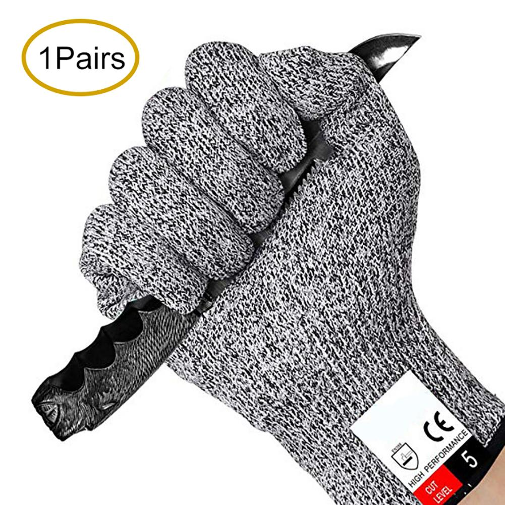 2Pcs HPPE High Strength Polyethylene Anti-cut Level 5 Protection Working Gloves New Chic