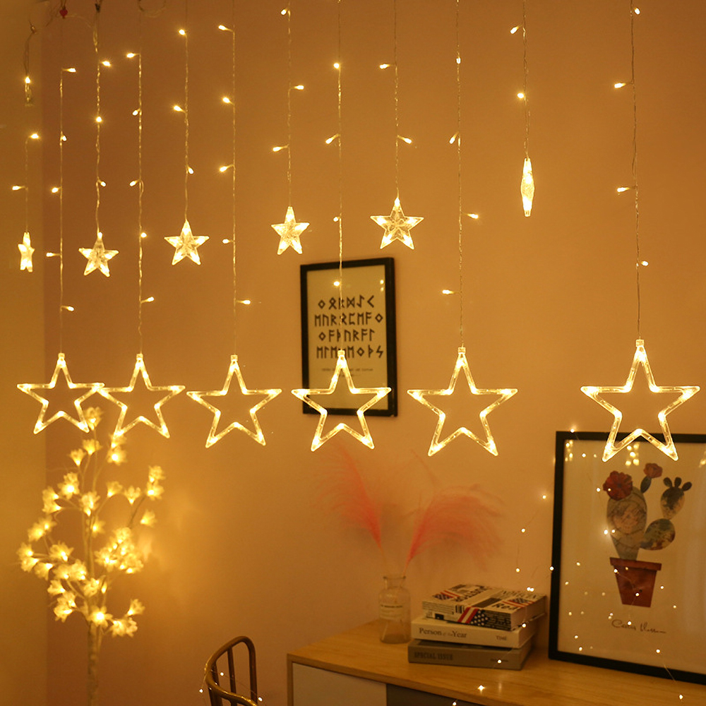 2.5M 220V LED Christmas Star Garland Curtain Light Outdoor String Light Fairy Lamp For Xmas Tree Holiday Wedding NEW Year Decor