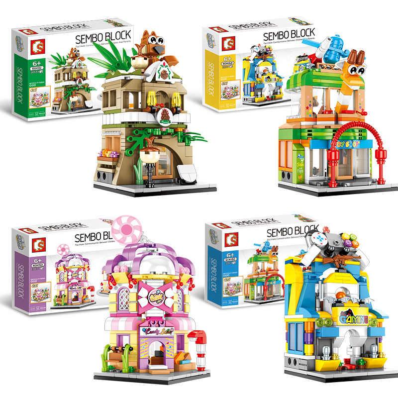 Мини вид на улицу города сцена конфеты игрушки магазин архитектурный конструктор блоки Совместимые Legoed друзья блоки конструктора детская игрушка