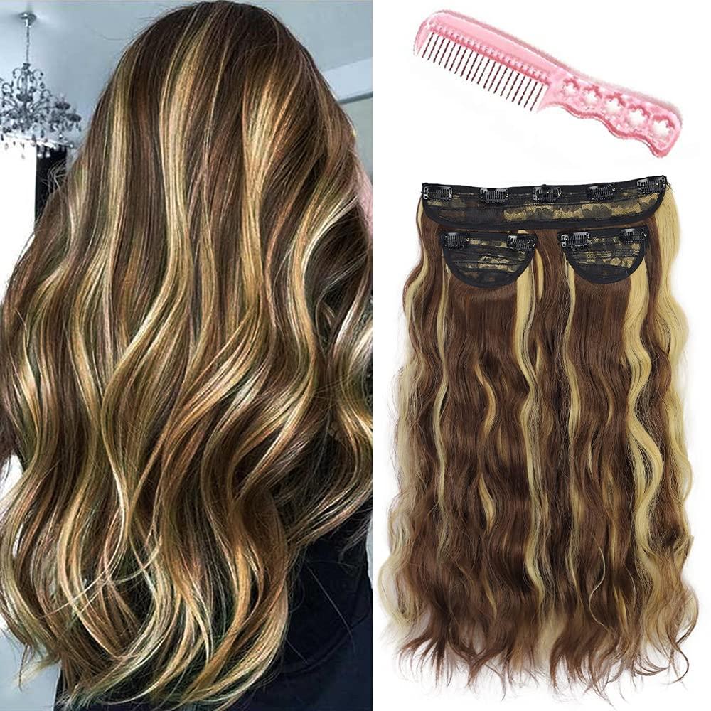 Латив Синтетические длинные волнистые волосы на всю голову невидимые волнистые удлинители с зажимом для женщин удлинители с зажимом 3 шт.