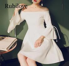 Rubilove One-shoulder shoulder wearable dress female 2019 new summer white off-the-shoulder ladies party banquet
