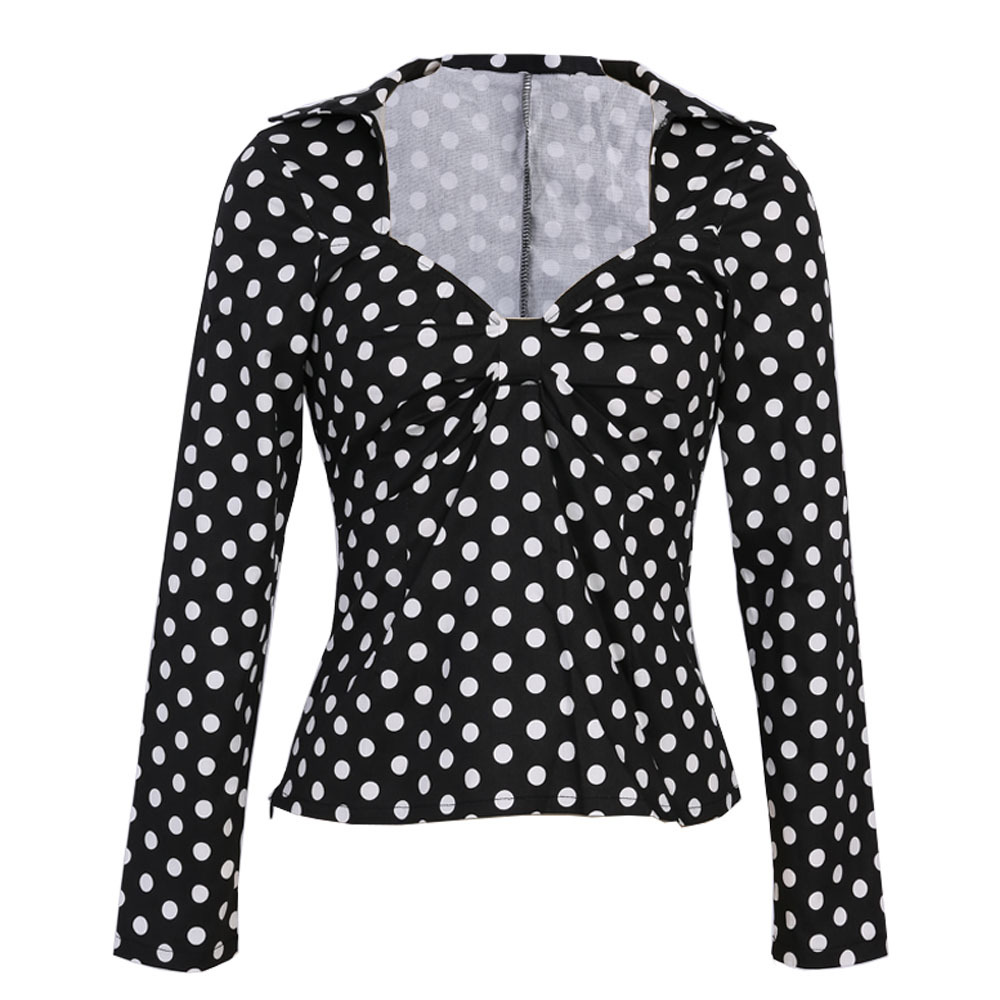 Polka Dot White Black Women Shirts Formal Work Ladies Blouses Cotton Long Sleeve Vintage Shirt Plus Size Tops 1950's Clothes