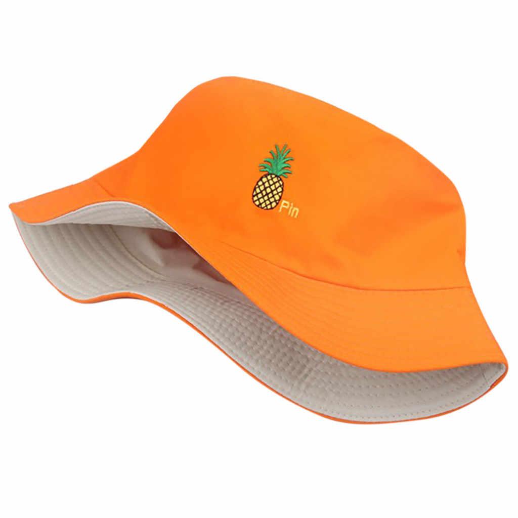 新しいパイナップルパターン面白い刺繍パナマファッショナブルな帽子の男性と女性の夏の屋外ヒップホップ漁師帽子 # Z10