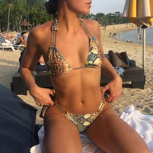 Image 4 - Snake print brazilian bikini 2019 Halter push up swimsuit female bathing suit Triangle sexy swimwear women biquinis Micro bikini