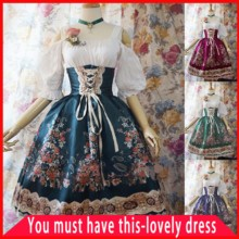 Large Size Lovely Medieval Dress Renaissance Halloween Party TUTU Dress Lolita High Waist Long Sleeve Lace Victorian Gothic Set