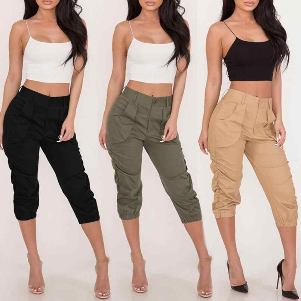 Pantalones Capri A La Moda De Color Liso 3 4 Para Mujer Pantalones Capri Con Cintura Elastica De Tres Cuartos Novedad De 2020 Pantalones Y Pantalones Capri Aliexpress