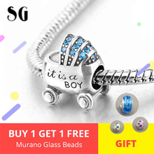 Mini Baby Boy Carriage Beads Fit Original pandora Charming Bracelets &Necklace Cute for Women 925 Sterling Silver Jewelry