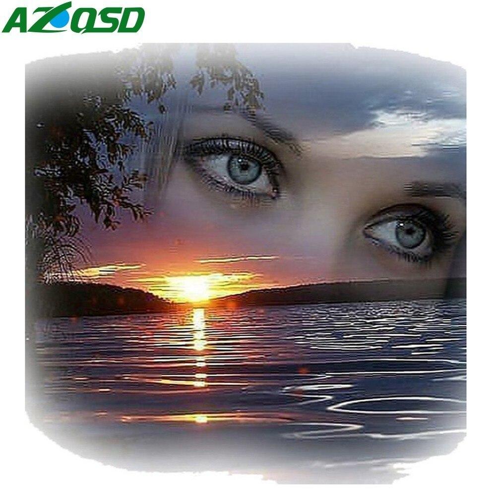 AZQSD Алмазная вышивка пейзаж 5d поделки алмазов картина полный дрель смолы закат вышивки крестом картина из страз глаза