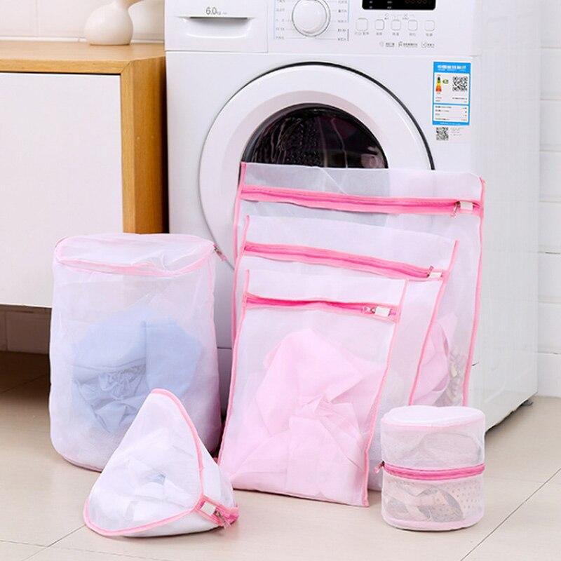 6pcs Mesh Laundry Bag Travel Clothes Storage Net Zip Bag For Bra Stocking Underwear XH8Z