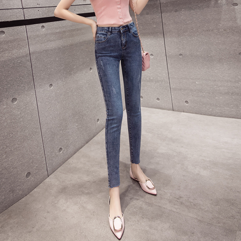 2019 Spring And Summer New Bicolor Trousers Tassels Fashion Slimming Slim Fit Elasticity Tight-Fit Jeans