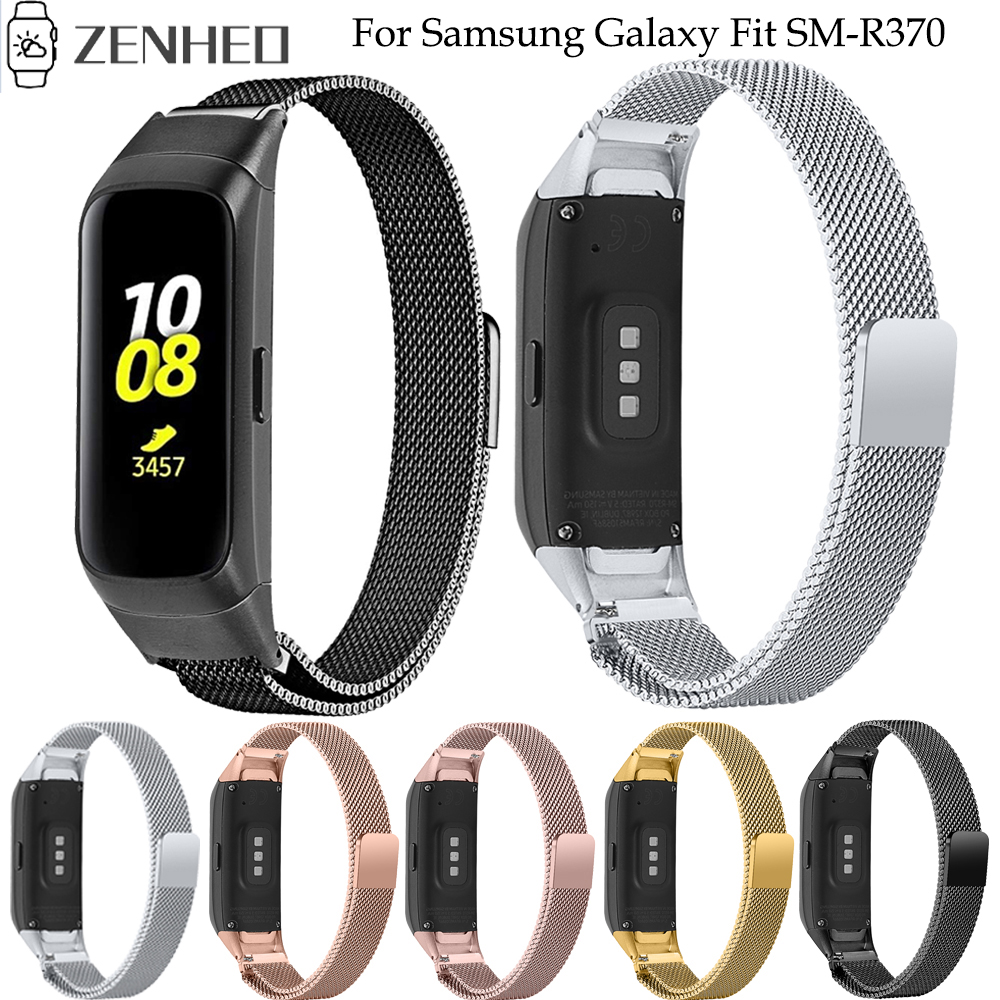 Milanese Loop Watchband For Samsung Galaxy Fit SM-R370 SM R370 Stainless Steel Strap Bracelet Watch Band With Connector