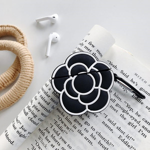 Image 5 - Funda protectora de silicona para auriculares para Apple Airpods 1 y 2, funda de lujo clásica 3D con estampado de Camelia y flores para mujer a prueba de golpes