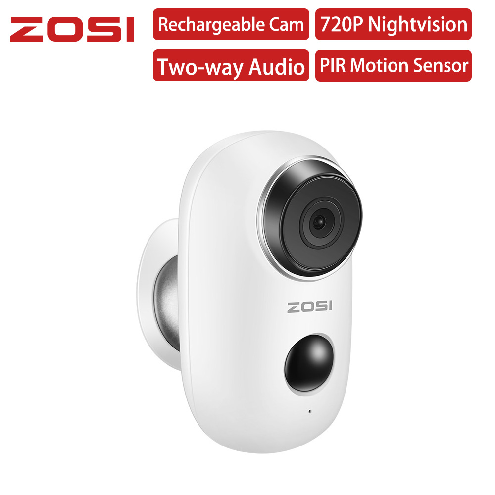 ZOSI 100% Wire-Free Rechargeable Battery IP Wifi Camera 720P Outdoor Indoor Weatherproof IP65 CCTV Security Camera Wide View