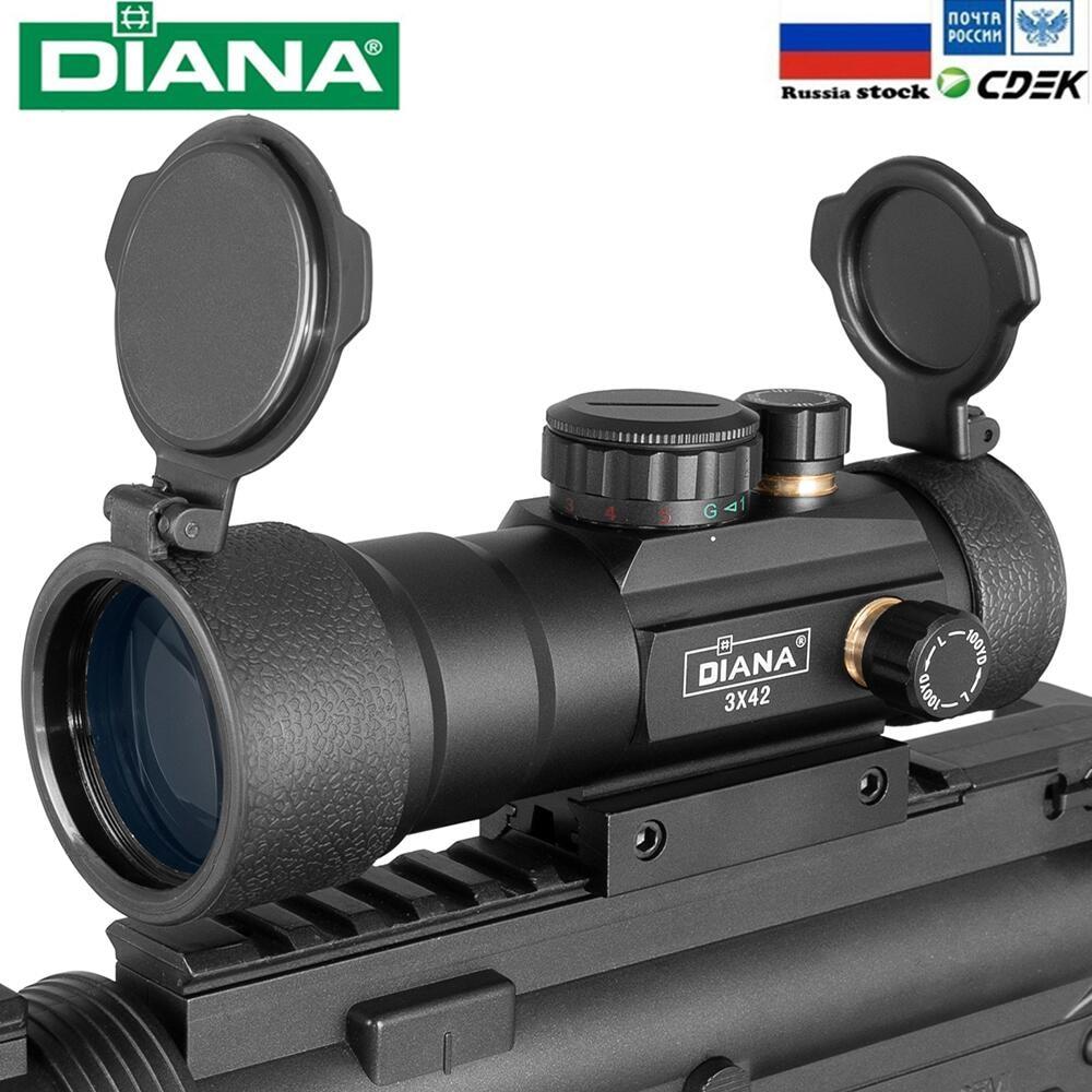 DIANA 3X42 yeşil kırmızı nokta Sight kapsam 2X40 kırmızı nokta 3X44 taktik optik tüfek Fit 11/20mm ray 1X40 tüfek Sight avcılık için