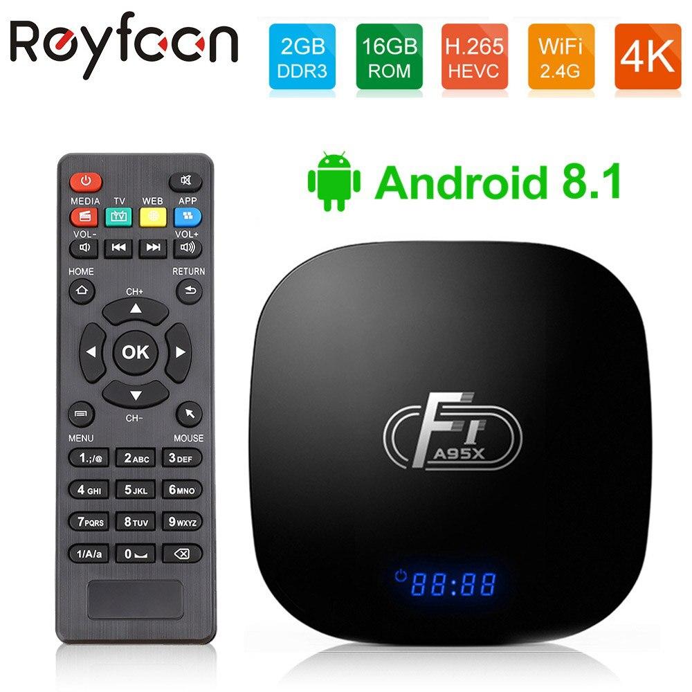 Android 8.1 Caixa de TV Inteligente Amlogic A95X F1 S905W Quad Core 2GB GB Apoio H.265 16 4K 2.4GHz Wi-fi Media Player Set Top Box Youtube