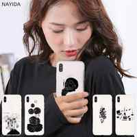NAYIDA Cases Silicone soft Cover for iPhone 11 Pro 2019 X XI XS Max XR 6 7 8 Plus SE 4 5 S Black line design