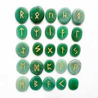Natural Green Aventurine Crystal Palm Stones Viking Runes Stones Set Reiki Healing Crystals Amulet Divination 25pcs
