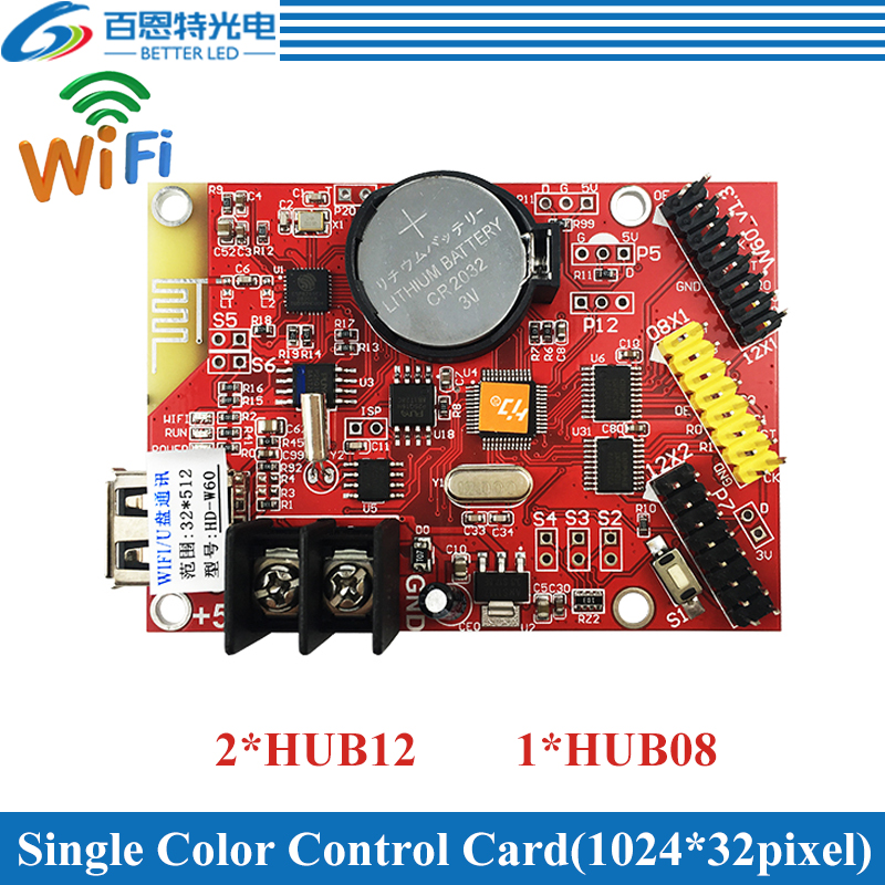 HD-W60 USB+Wifi 2*HUB12 & 2*HUB08 Single Color(1024*32 Pixels) & Dual Color(512*32 Pixels) LED Display Control Card