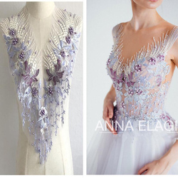 Pink Blue Sequin Pearl Appliques Sew On Patches Lace Fabric Neckline Collar Mesh Embroidery For Wedding Gown DIY Decoration P043