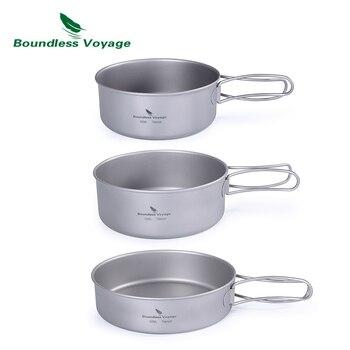 Boundless Voyage Outdoor Ultralight 3pcs Titanium Pot Pan Set Plate Dish Cookware Tableware Dinnerware