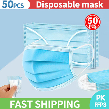 10/50/100PCS Disposable Mask Face Mask 3 Layer Flu Breathable Ear Loop Mask Non Wove Filter Mask
