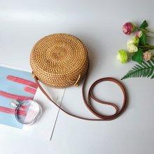 Портативная ручная сумка из ротанга через плечо простой дизайн