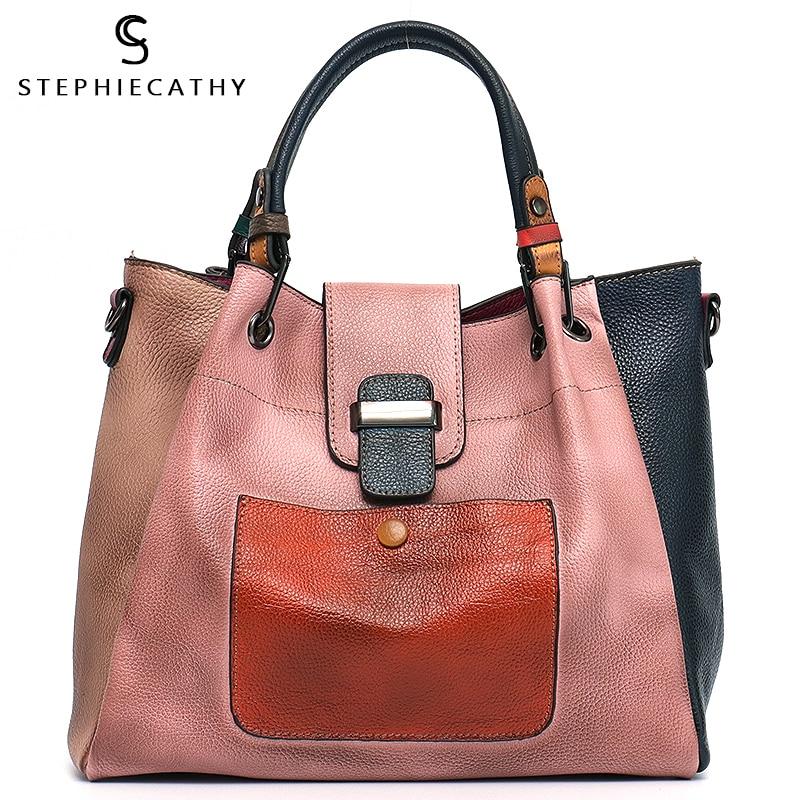 SC Retro Color Leather Patchwork Shoulder Bag Ladies Italian Leather Hobo Women Vintage Tote Female Crossbody&Messenger HandBag