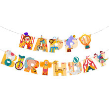 Circus-Happy-Birthday-Banner Backdrop-Decor Clown Birthday-Party-Decoration Paper Letter Garland