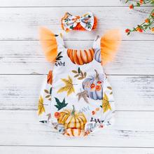 2019 New Fashion Cute Toddler Baby Kids Girls Halloween Pumpkin Leaf Print Romper Hairband
