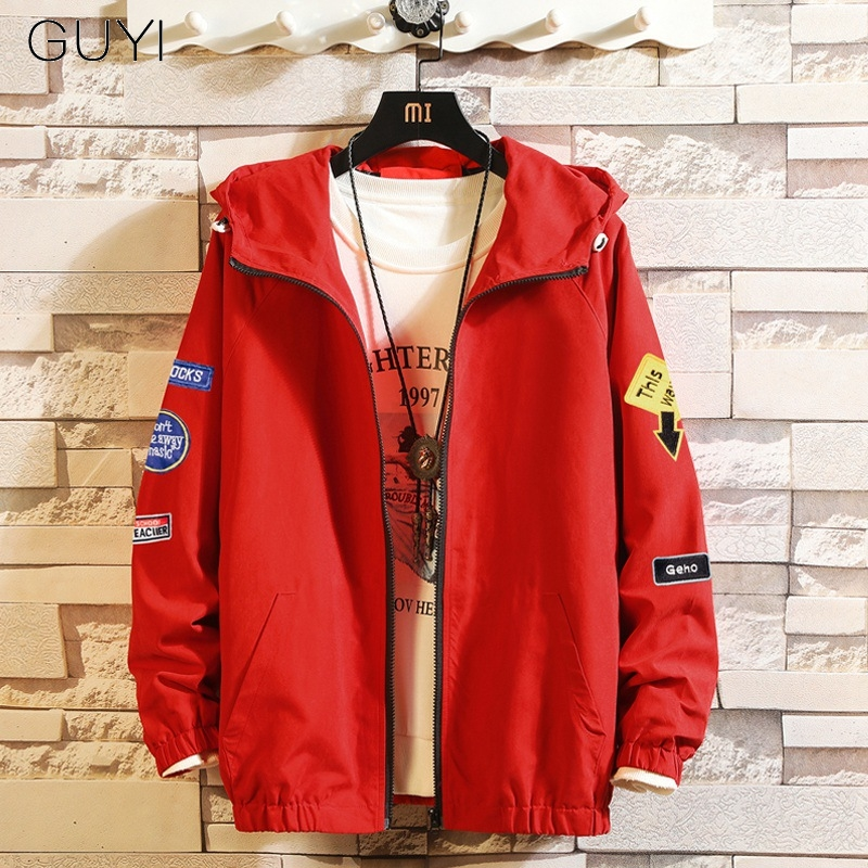 GUYI Red Hooded Japan Style Zipper Jacket Men Loose Casual Coats Male Hip Hop Streetwear Clothes Autumn Winter Pockets Overcoat