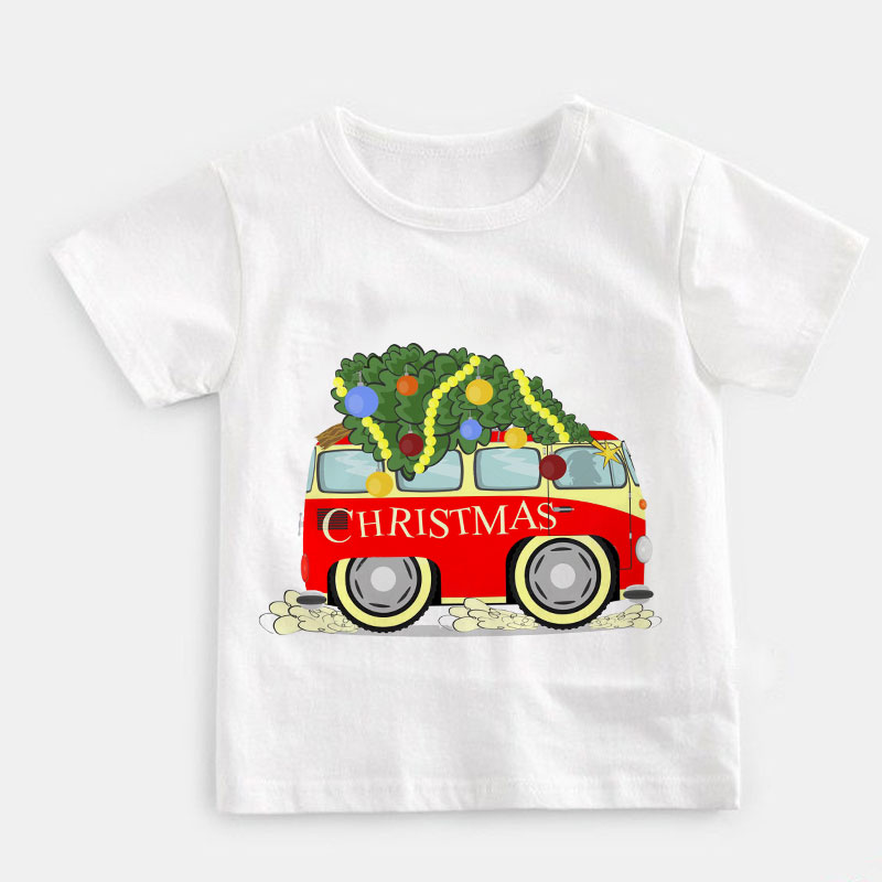 Toddler Baby Kids Girl Boy Car Print T-shirt Tee Tops Christmas Clothes Outfits