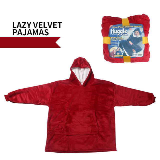 Voqeen Blanket Sweatshirt Men Women Big Front Pocket Hoodie Blanket Oversized Wearable Blanket Reversible Flannel Robe Ultra Soft Adults Pullover