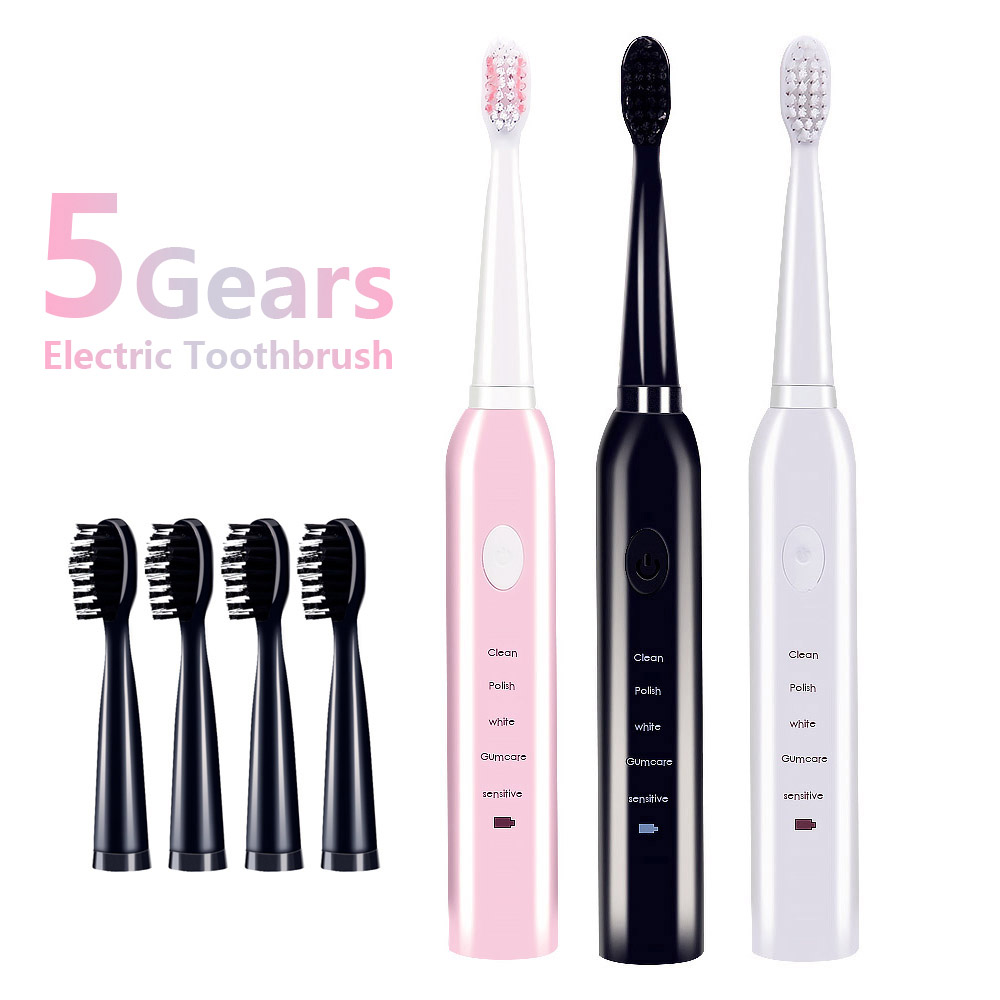 Electric Toothbrush Sonic Wave Rechargeable Top Quality Smart Chip Toothbrush Head Replaceable Whitening Healthy Tooth brush