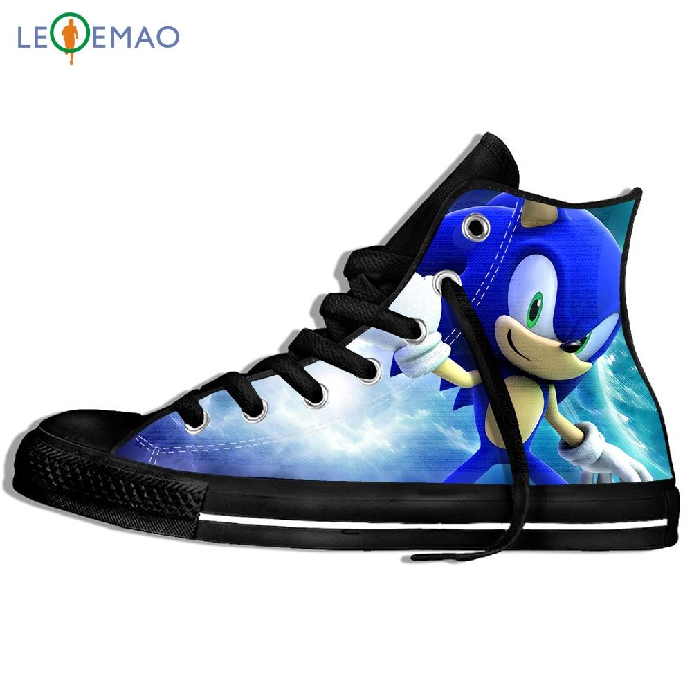 Кроссовки с принтом на заказ; Классные лоферы с высоким берцем Sonic The Hedgehog; Парусиновая дышащая прогулочная обувь на плоской подошве в стиле ...