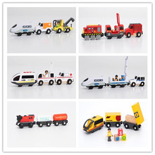 Railway Locomotive Magnetically Connected Electric Train Magnetic Rail Toy Compatible With Wooden Track Toys For Kids Gifts
