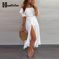 Ladies Off Shoulder Ruffle Tops & Split Long Skirt Sets Women Solid Casual 2 Piece Set Outfits