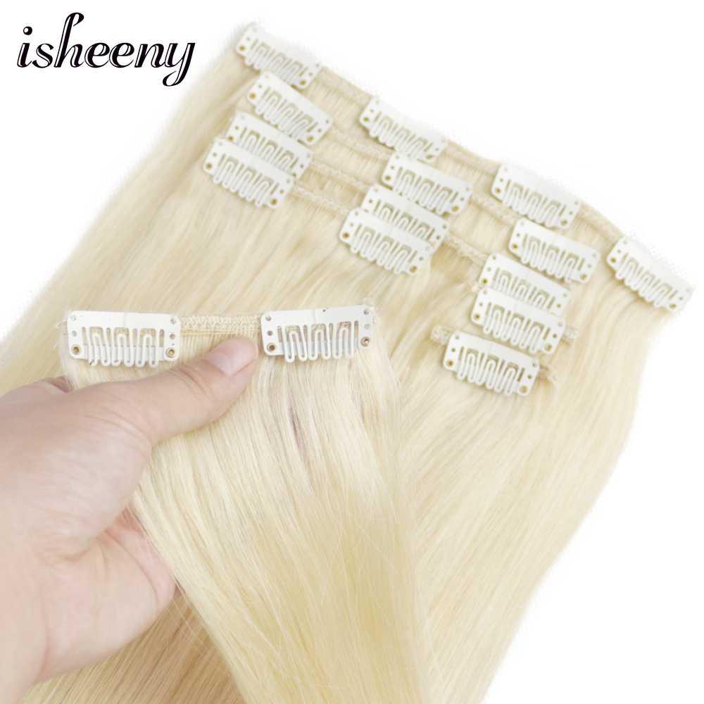 """Isheeny 12 """"-22"""" Remy Clip-in przedłużanie włosów 7 sztuk/zestaw 613 # włosy ludzkie w kolorze blond prosto"""