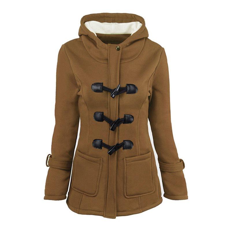 Women Jackets Outwears Gothic Plus-Size Overcoats Hooded Female Slim Black Winter Ladies
