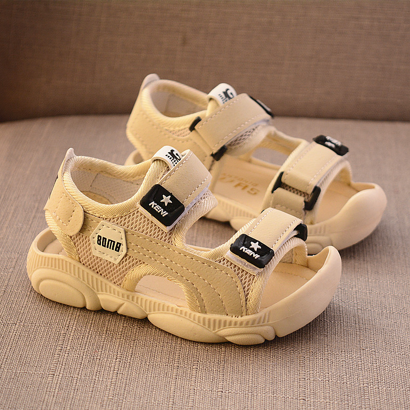 2020 Summer New Boys Sandals Flat Soft Bottom Leather Kids Beach Shoes Anti-kick Design Little Toddler Children Sandals