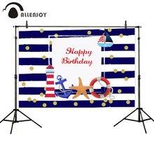 Allenjoy Фотофон с изображением якоря парусника маяка в синюю полоску для фотосъемки на день рождения и вечерние фотосъемки