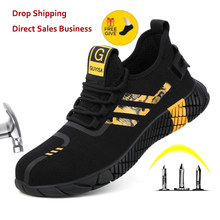 Nowe oddychające buty męskie obuwie ochronne stalowe Toe antypoślizgowe buty do pracy niezniszczalne buty odporne na przebicie trampki robocze dla mężczyzn