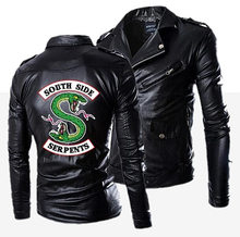 Motorcycle Slim Viper Men's Leather Jacket Men's Leather Coat Riverdale TV Cool Leather Zipper Zipper and Pocket Not Hooded PU(China)