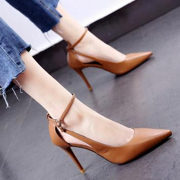 цена на 2020 Spring/Autumn Women Pumps Woman High Heels Pointed toe Office Lady Work Shoes Buckle Soft PU leather Black Red Brown Beige