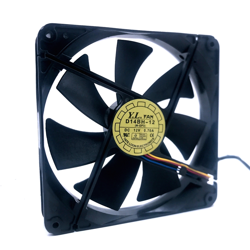D14BH-12 140mm Cooling Fan 140X140X25mm 4-wire PWM 2500RPM 0.35A For Yate Loon Mute Computer Chaasis Cpu Cooling Fan