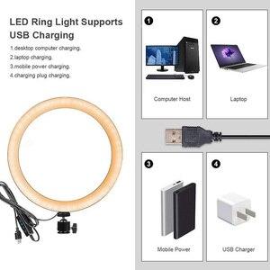 Image 2 - Ring Lamp Video 16/26Cm Dimbare Led Selfie Ring Licht Usb Fotografie Licht Met Statief Voor Telefoon make Up Youtube Tik Tok