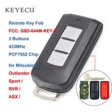 Keyecu ce1731 chave remota inteligente, 3 botões 433mhz pcf7952 para mitsubishi outlander sport rvr asx fcc: G8D-644M-KEY-E