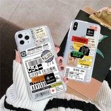 Funda de lujo para teléfono con etiqueta de sello transparente y código de barras para iPhone 11 Pro MAX XR X XS MAX 7 8 6 6s plus funda transparente suave de moda